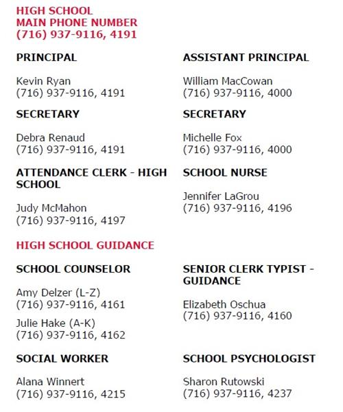 Main phone numbers