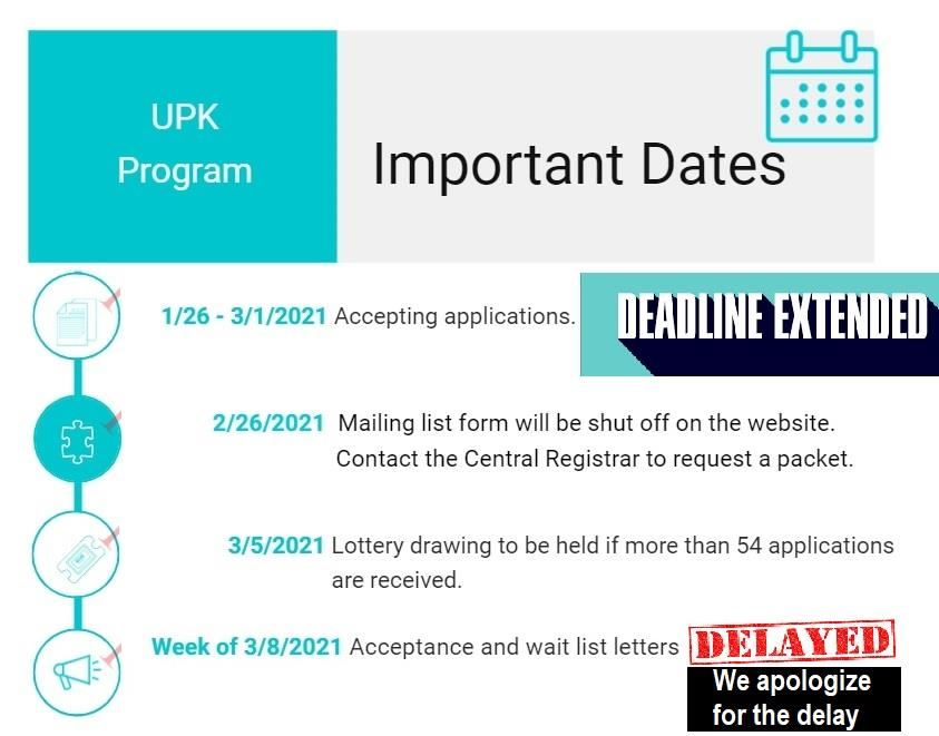 UPK important dates graphic