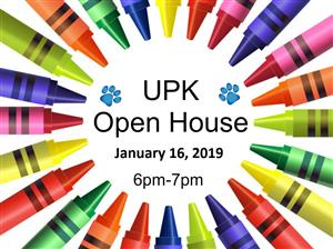 UPK Open House January 16th from 6pm to 7pm
