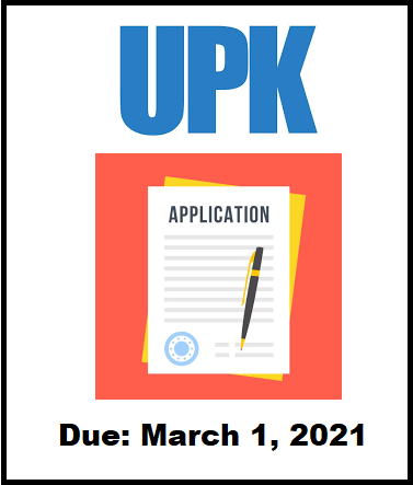 UPK Applications Due 3/1/2021